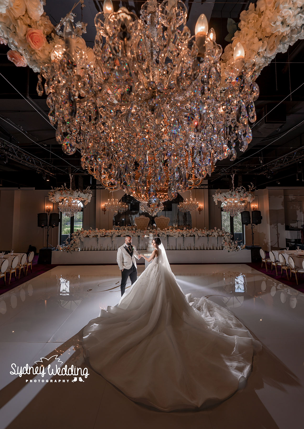 reception decoration idea, chandelier decoration by Sydney Wedding photographer